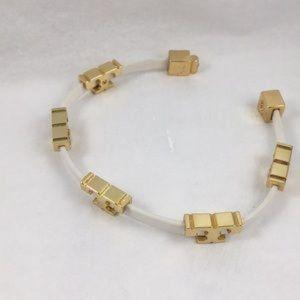 Tory Burch Sherif-T Single Wrap Bracelet White